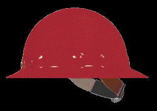 Fibre-Metal Red SuperEight Class E, G or C Type I Thermoplastic Full Brim Hard Hat With Ratchet Suspension
