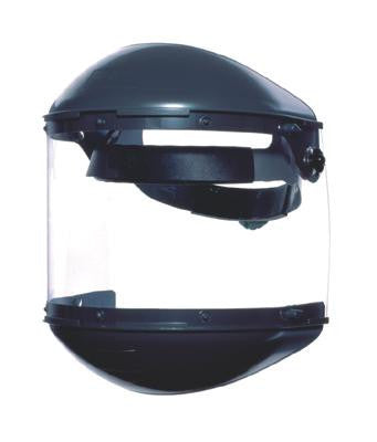 "Fibre-Metal Model F-400 Noryl Dual Crown Ratchet Headgear With Clear Propionate Faceshield, Built-In 4"" Deep Chin Guard, 4"" Deep Crown Protector And Speedy Mounting Loop System"