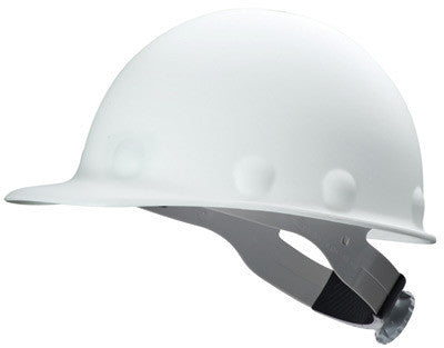 Fibre-Metal White Roughneck P2A Series Class C And G ANSI Type 1 Fiberglass Hard Cap With Ratchet Suspension