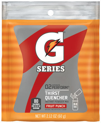 Gatorade 2.12 Ounce Instant Powder Pouch Fruit Punch Electrolyte Drink - Yields 1 Quart (144 Packets Per Case)