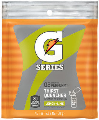 Gatorade 2.12 Ounce Instant Powder Pouch Lemon Lime Electrolyte Drink - Yields 1 Quart (144 Packets Per Case)