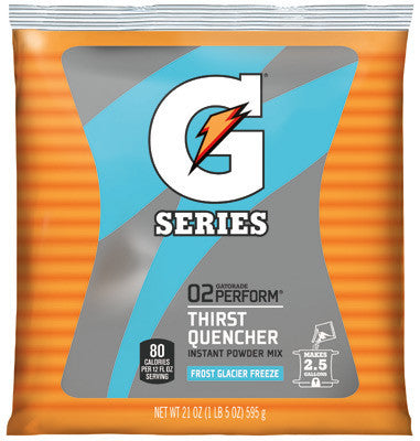 Gatorade 51 Ounce Instant Powder Pouch Glacier Freeze Electrolyte Drink - Yields 6 Gallons (14 Packets Per Case)