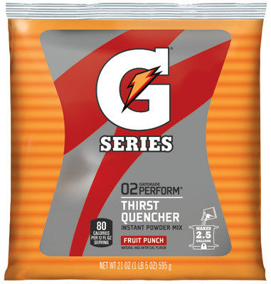 Gatorade 21 Ounce Instant Powder Pouch Fruit Punch Electrolyte Drink - Yields 2 1/2 Gallons (32 Packets Per Case)