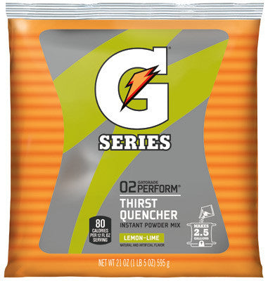 Gatorade 21 Ounce Instant Powder Pouch Lemon Lime Electrolyte Drink - Yields 2 1/2 Gallons (32 Packets Per Case)