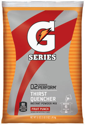 Gatorade 51 Ounce Instant Powder Pouch Fruit Punch Electrolyte Drink - Yields 6 Gallons (14 Packets Per Case)