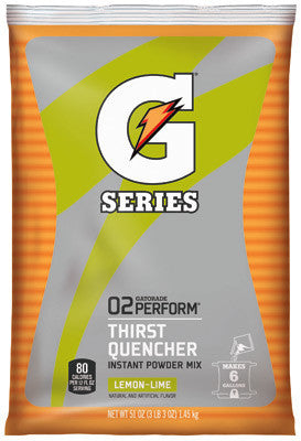 Gatorade 51 Ounce Instant Powder Pouch Lemon Lime Electrolyte Drink - Yields 6 Gallons (14 Packets Per Case)