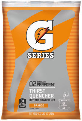 Gatorade 51 Ounce Instant Powder Pouch Orange Electrolyte Drink - Yields 6 Gallons (14 Packets Per Case)