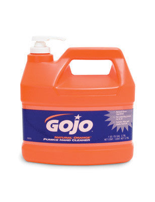 GOJO 1Gallon Bottle Natural* Orange Orange Citrus Scented Lotion Formula Hand Cleaner With Pumice Scrubbing Particles With Pump Dispenser
