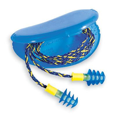 Howard Leight Multiple Use Fusion 4-Flange Blue And Yellow Thermal Plastic Urethane Corded Earplugs With Detachable Nylon Cord (1 Pair Per HearPack, 100 Pair Per Box)
