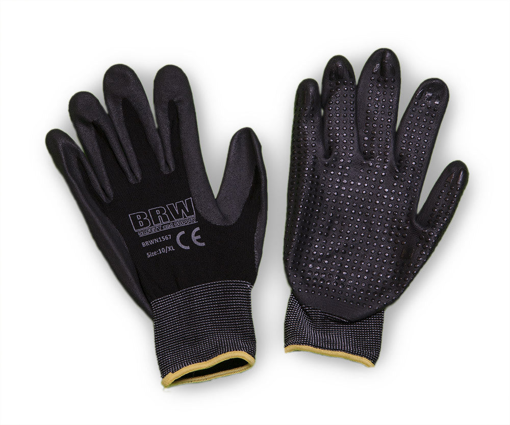 15 Gauge Black Polyester Glove with Breathable Dotted Nitrile Coating