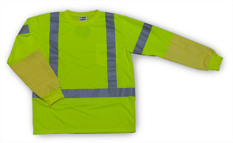 B-T1010 - ANSI 107 Compliant Long Sleeve Lime T-shirt with Built in Kevlar Armguards