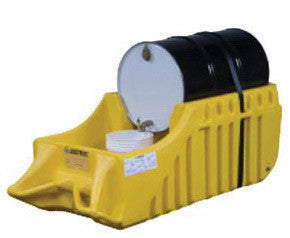 Justrite Yellow Outdoor EcoPolyBlend Portable Drum Caddy With Rubber Wheels
