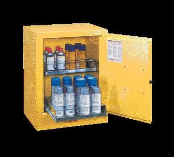 "Justrite 27"" X 21"" X 18"" Yellow Aerosol Can Bench Top Safety Cabinet With 2 Sure-Grip Self-Latching Doors And 2 Easy Roll-Out Shelves"