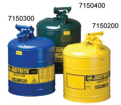 Justrite 5 Gallon Yellow Type 1 Safety Can With Staiinless Steel Flame Arrestor For Use With Diesel