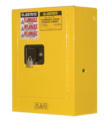 "Justrite 22"" X 17"" X 8"" Yellow Portable Mini Safety Cabinet For Oils, Chemicals And Cleaners"