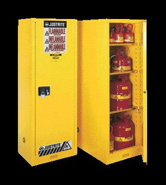 "Justrite 65"" X 23 1/4"" X 34"" Yellow 55 Gallon Deep Slimline Sure-Grip EX Safety Cabinet With 1 Self-Closing Door And 3 Shelves"