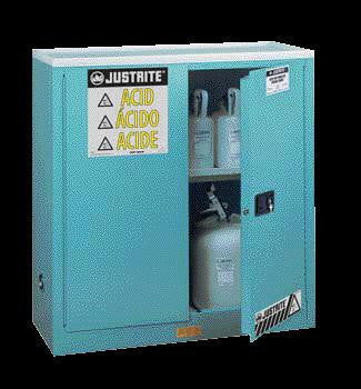 "Justrite 44"" X 43"" X 18"" Blue 30 Gallon Steel Sure-Grip EX Safety Cabinet For Corrosives With 2 Self-Closing Doors And 1 Shelf"
