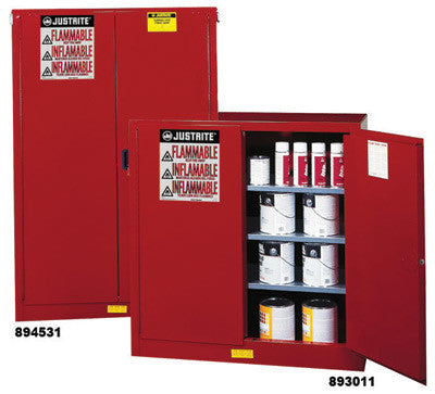 Justrite 40 Gallon Red 2-Door Sure-Grip EX Paint And Ink Safety Storage Cabinet With Manual Closing Doors