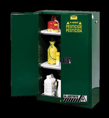 "Justrite 65"" X 43"" X 18"" Green 45 Gallon Sure-Grip EX Safety Cabinet For Pesticides With 2 Self-Closing Doors And 2 Shelves"
