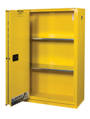 Justrite 45 Gallon Yellow Flame EX Enhanced Sliding Door Safety Cabinet With Sliding Self-Closing Single Door