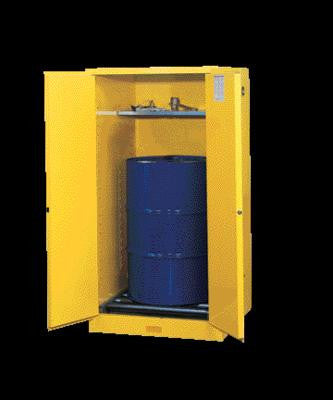 "Justrite 65"" X 34"" X 34"" Yellow 55 Gallon Sure-Grip EX Safety Cabinet For 1 Vertical Drum With 2 Manual Doors And 1 Shelf"