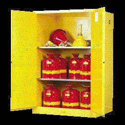 "Justrite 65"" X 43"" X 18"" Yellow 45 Gallon Sure-Grip EX Safety Cabinet For Flammables With 2 Manual Doors And 2 Shelves"