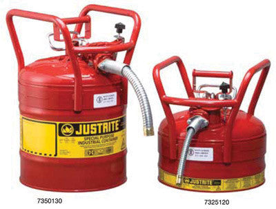 "Justrite 2.5 Gallon Red Type II AccuFlow Transport And Dispensing Safety Cans With Attached 5/8"" X 9"" Flexible Metal Hose"