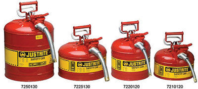 "Justrite 1 Gallon Red AccuFlow Safety Can With 9"" Metal Hose For Use With Flammable Liquids"