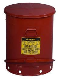 Justrite 21 Gallon Red Oily Waste Can With Foot Lever Opening Device