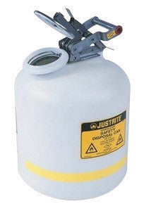 Justrite 2 Gallon Translucent White Liquid Disposal Can With Stainless Steel Hardware