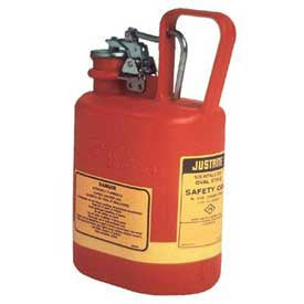 Justrite 1/2 Gallon Red Type I Oval Polyethylene Safety Can For Flammables With Stainless Steel Hardware
