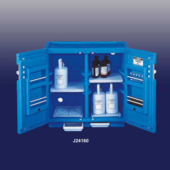 "Justrite 35"" X 36"" X 23 1/2"" Blue Polyethylene Under Counter Storage Cabinet For Acids With 2 Doors (Capacity 30 Each 1 Liter Bottles)"