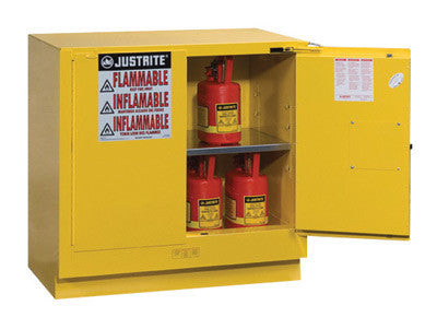 "Justrite 35"" X 35"" X 22"" Yellow 22 Gallon Undercounter Sure-Grip EX Safety Cabinet With 2 Self-Closing Doors And 1 Shelf"