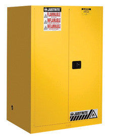 "Justrite 44"" X 43"" X 18"" Yellow 30 Gallon Sure-Grip EX Safety Cabinet For Flammables With 2 Manual Doors And 1 Shelf"