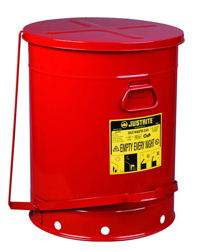Justrite 10 Gallon Red Oily Waste Can With Foot Lever Opening Device