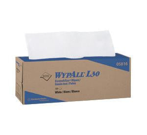"Kimberly-Clark 16.4"" X 9.8"" White WYPALL L30 Wipers In Pop-Up Box (120 Per Box, 6 Boxes Per Case)"