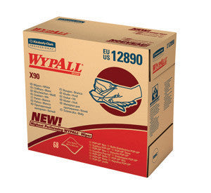 "Kimberly-Clark Professional* 8.3"" X 16.8"" White WypAll* X90 1/4 Fold Heavy Duty Cloth Wipers (68 Sheets Per POP-UP* Box)"