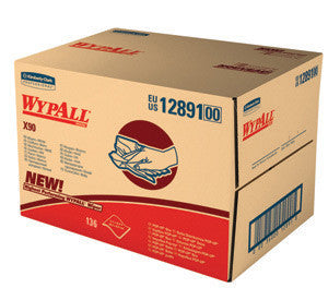 "Kimberly-Clark Professional* 11.1"" X 16.8"" White WypAll* X90 Heavy Duty Cloth Wipers (136 Sheets Per BRAG* Box)"