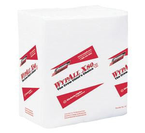 "Kimberly-Clark 12 1/2"" X 14.4"" White WYPALL X80 1/4 Fold Towels (50 Per Package)"
