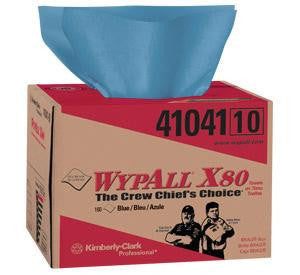 "Kimberly-Clark 12.5"" X 16.8"" Blue WYPALL X80 1/4 Fold SHOPPRO Shop Towels In BRAG Box (160 Per Box)"