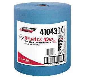 "Kimberly-Clark 12 1/2"" X 13.4"" Blue WYPALL X80 SHOPPRO Jumbo Roll Shop Towels (475 Per Roll)"