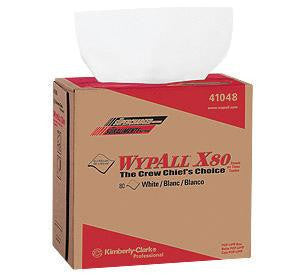 "Kimberly-Clark 12.5"" X 16.8"" White WYPALL X80 1/4 Fold SHOPPRO Shop Towels In Pop-Up Box (80 Per Box)"