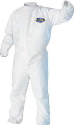 Kimberly-Clark Professional* Large White KleenGuard* A30 MICROFORCE Disposable Coveralls With Storm Flap Over Front Zipper Closure, Elastic Back, Front, Wrists And Ankles And Hood (25 Per Case)
