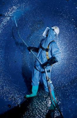 Kimberly-Clark Professional* Large Blue KleenGuard* A60 Breathable, Microporous Film Laminate Disposable Coveralls With Storm Flap Over Front Zipper Closure, Attached Hood And Boots, Elastic Back, Wrists, Ankles, Hood And Boots (24 Per Case)