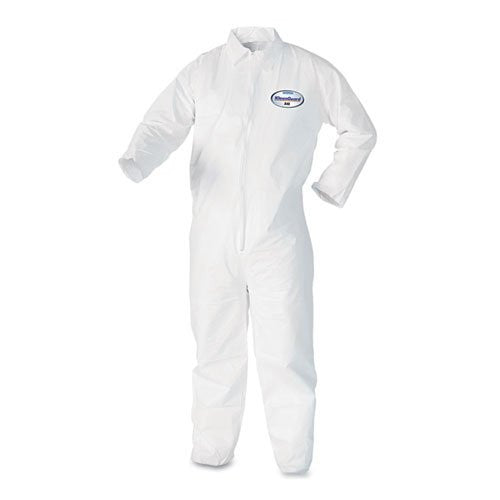 Kimberly-Clark Professional* Large White KleenGuard* A40 Breathable, Microporous Film Laminate Disposable Liquid And Particle Protection Coveralls With Front Zipper Closure, Attached Hood And Elastic Wrists And Ankles (25 Per Case)