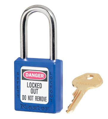 "Master Lock Blue #410 1 3/4"" High Body Safety Lockout Padlock With 1 1/2"" Shackle - Keyed Differently"