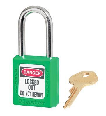 "Master Lock Green #410 1 3/4"" High Body Safety Lockout Padlock With 1 1/2"" Shackle - Keyed Differently"