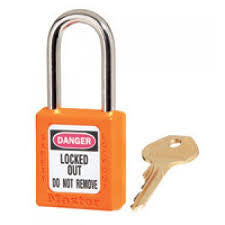"Master Lock Orange #410 1 3/4"" High Body Safety Lockout Padlock With 1 1/2"" Shackle - Keyed Differently"