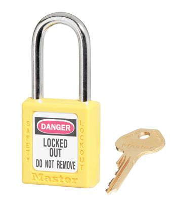 "Master Lock Yellow #410 1 3/4"" High Body Safety Lockout Padlock With 1 1/2"" Shackle - Keyed Differently"
