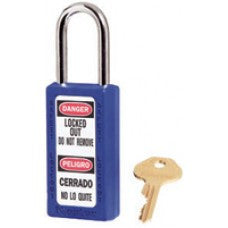 "Master Lock Blue #411 3"" High Body Safety Lockout Padlock With 1 1/2"" Shackle - Keyed Differently"
